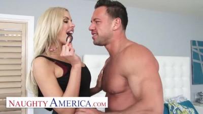 Blonde Babe Nina Elle gives Johnny a Cock Ring and Fucks him