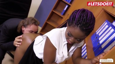 Sunny Star Ebony Kenyan Young Secretary Seduces Boss into Hot Office Fuck
