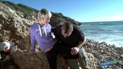 Sexy Blonde Gets her Tight Cunt and Ass Screwed on the Beach Rocks