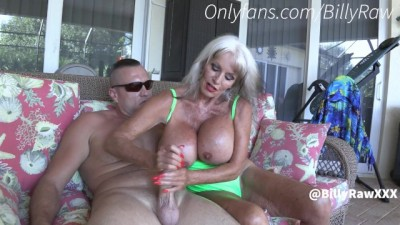 Sally Dangelo Jerks off Step Son with HUGE COCK