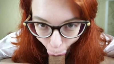 Nerd Girl Sucks Cook and Swallow Cum