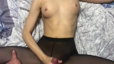Sex in Black Pantyhose,blowjob,cum on Stomach