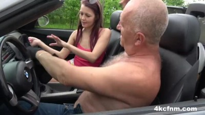 Young Hitchhiker Wanks Grandpa for a Ride