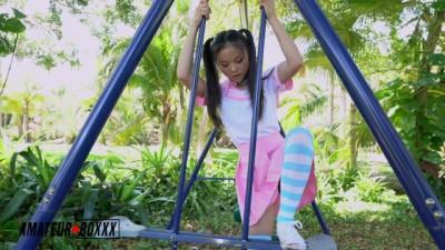Asian School Girl Lulu Chu Masturbates in Public Park