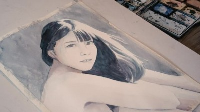 Painting Ai Uehara while Naked - NakedArtist