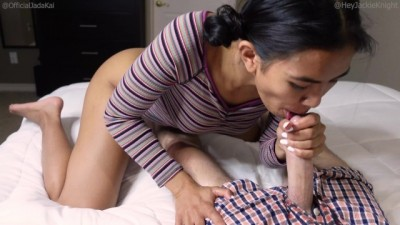 Asian Step Sis Catches her Brother Jerking off and Fucks him