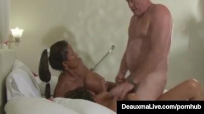 Busty Mommy Deauxma & Lesbian Minka get Banged