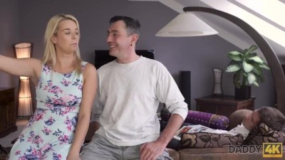 Nikki was Cleaning the House before Sex with old Male