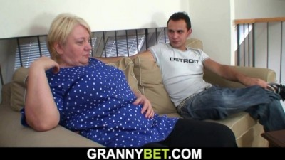 Busty old Mature Blonde gives Head and Rides his Dick
