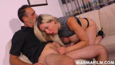 Big Tits Blonde Slut Fucking two Big Dicks