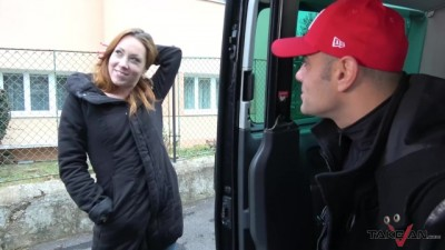 Almost Blind Redhead Agree with help from Stranger who Fuck her in Car