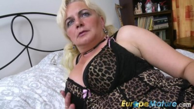 Blonde Lady is Playing on the Bed
