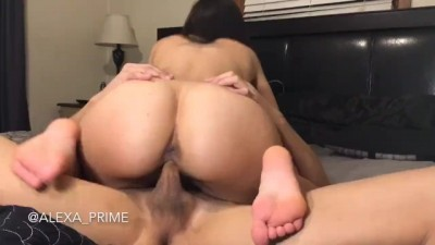 College Young Latina Rides her Man Late Night Fuck