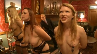 Five busty slave girls get in dirty