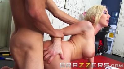 Big Tits blonde Christie Stevens fucks luck nerd