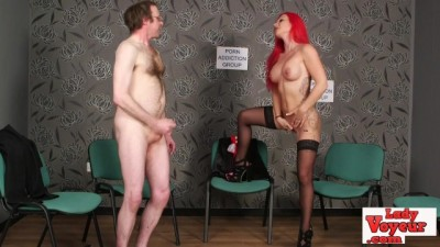 Loser Jerks off while Staring at Stripped Babe