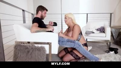 Mature Blonde MYlf Gets Cum on her Monster Tits