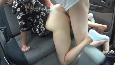 Outdoor car sex in the forest