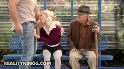 Small blonde Teens Riley Star sucks and fucks in public