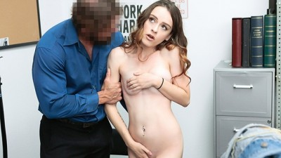 Cute Brunette Teen Gets Creampied By Hot Security Officer
