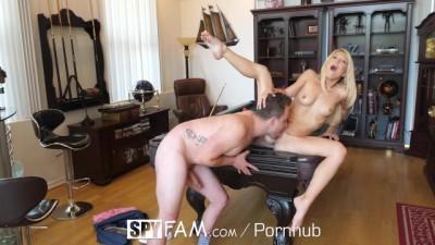 Blonde stepmom Laura Bentley fucks stepson on pool table