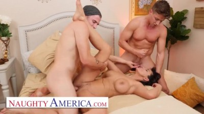 MILF Becky Bandini gets tag teamed by college boys