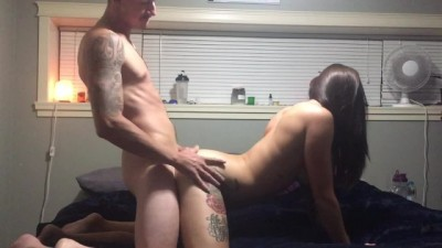 Hot tattooed couple has quick fuck she cums he cums