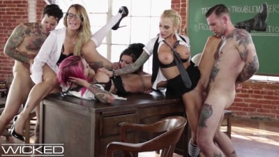 Classroom Orgy Led by Teacher