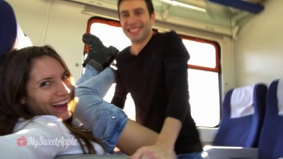 Amateur Couple Fucking on a Train with Facial