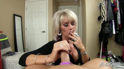 Mature Sister in Law Smokes while Giving POV Cuckold Handjob