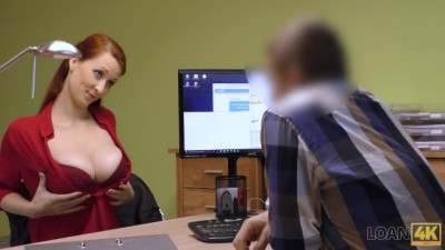 Agent Screws Busty Redhead because she really needs Money