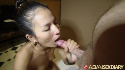 Tight Asian Gets Pussy Cum Filled by White Guy