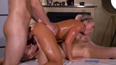 Oil Soaked Sensual Blonde Czech FFM Threesome