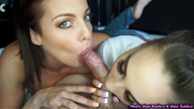 Sasha Foxxx and Britney Amber Double Blowjob