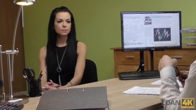 Long-haired Latina Inga comes to a Small Loan Company