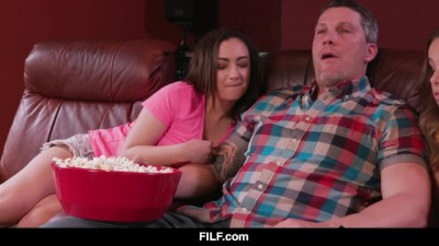 Liza and Lily Share Stepdad's Dick during a Boring Movie