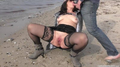 Slutwife Gangbanged by Random Strangers on the Beach