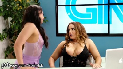 Lesbian Teen under Natasha Nice's Desk Pussy Playing