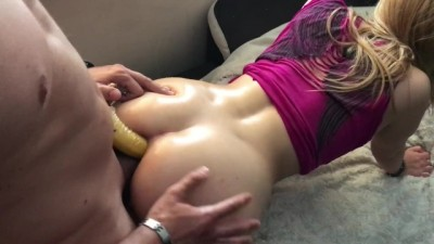 Caught her Playin with Banana N` made her DP W/t ANAL