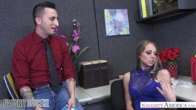 Shawna Lenee Deepthroats a Dick on her Desk in the Office