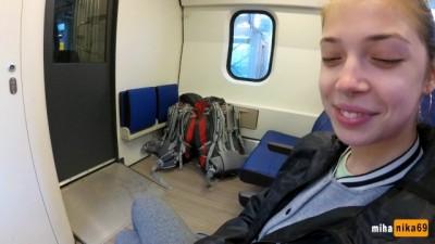 Real Public Blowjob in the Train | POV Oral Creampie