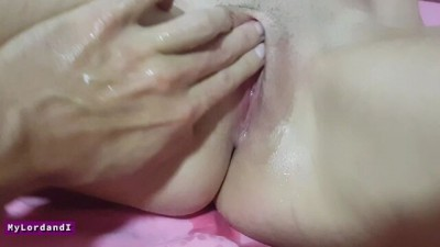 My Wet Pussy Squirting Cum on the Bed while my Mom is next Door