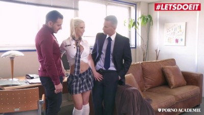 Busty Schoolgirl Barbie Sins Rides two Hard Cocks during Lunch