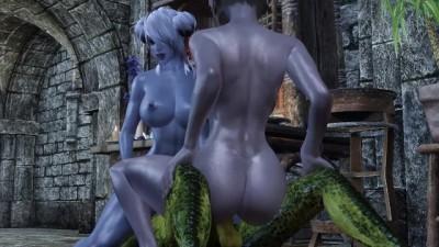 Two Sexy Girls Fuck an Argonian Skyrim Porn