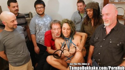 Pregnant Tattoo Slut ANAL Gangbang Bukkake Party!