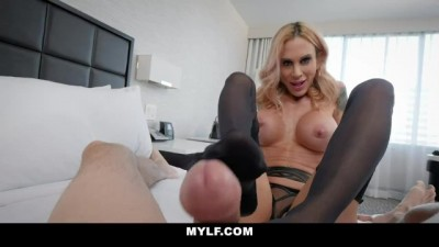 Boss Bitch Cougar Blows Tit Fucks and Footjobs Employees Cock