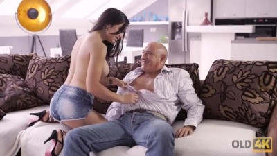Lucky Senior Tastes Teen Pussy and Drills Tight Asshole